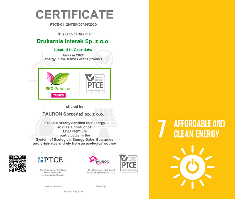 Interak Printing House - sustainable development goal_energy