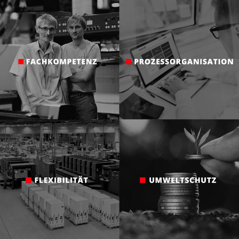 Druckerei Interak - vier Säulen